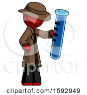 Red Detective Man Holding Large Test Tube