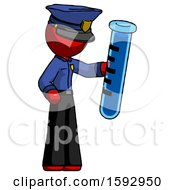 Red Police Man Holding Large Test Tube