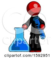 Red Clergy Man Holding Test Tube Beside Beaker Or Flask