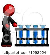 Red Clergy Man Using Test Tubes Or Vials On Rack