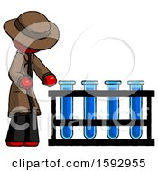 Red Detective Man Using Test Tubes Or Vials On Rack