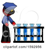 Red Police Man Using Test Tubes Or Vials On Rack