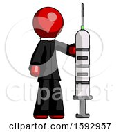 Red Clergy Man Holding Large Syringe
