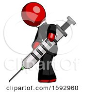 Red Clergy Man Using Syringe Giving Injection