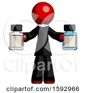 Red Clergy Man Holding Two Medicine Bottles