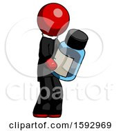 Red Clergy Man Holding Glass Medicine Bottle