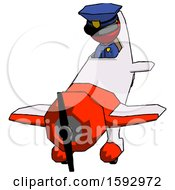 Red Police Man In Geebee Stunt Plane Descending Front Angle View