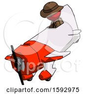 Red Detective Man In Geebee Stunt Plane Descending View