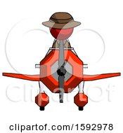 Red Detective Man In Geebee Stunt Plane Front View