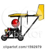 Red Clergy Man In Ultralight Aircraft Side View