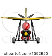 Red Clergy Man In Ultralight Aircraft Front View
