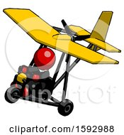 Red Clergy Man In Ultralight Aircraft Top Side View