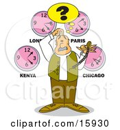 Confused Man Holding A Pocketwatch Scratching His Head And Standing Under Clocks From Different Time Zones Clipart Illustration