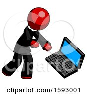 Red Clergy Man Throwing Laptop Computer In Frustration