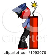 Red Police Man Leaning Against Dynimate Large Stick Ready To Blow