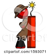 Red Detective Man Leaning Against Dynimate Large Stick Ready To Blow