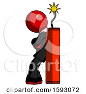 Red Clergy Man Leaning Against Dynimate Large Stick Ready To Blow