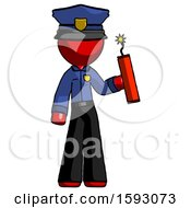 Red Police Man Holding Dynamite With Fuse Lit