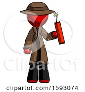 Red Detective Man Holding Dynamite With Fuse Lit