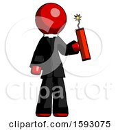 Red Clergy Man Holding Dynamite With Fuse Lit