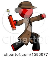 Red Detective Man Throwing Dynamite