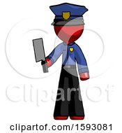 Red Police Man Holding Meat Cleaver