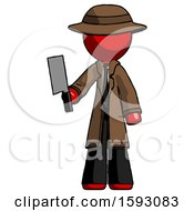 Red Detective Man Holding Meat Cleaver