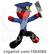 Red Police Man Psycho Running With Meat Cleaver