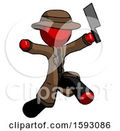 Red Detective Man Psycho Running With Meat Cleaver