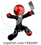 Red Clergy Man Psycho Running With Meat Cleaver