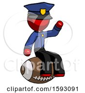 Red Police Man Sitting On Giant Football