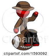 Red Detective Man Sitting On Giant Football