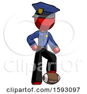 Red Police Man Standing With Foot On Football