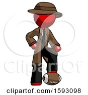 Red Detective Man Standing With Foot On Football
