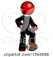 Red Clergy Man Standing With Foot On Football
