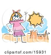 Childlike Drawing Of A Little Girl Waving And Playing By A Sandcastle On A Sunny Beach Clipart Illustration