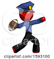 Red Police Man Throwing Football