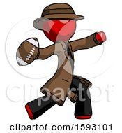 Red Detective Man Throwing Football
