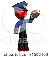 Red Police Man Holding Football Up