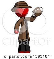 Red Detective Man Holding Football Up