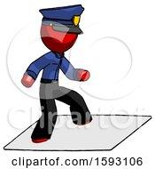 Red Police Man On Postage Envelope Surfing