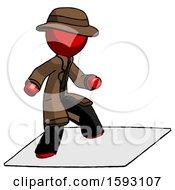 Red Detective Man On Postage Envelope Surfing