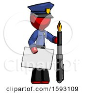 Red Police Man Holding Large Envelope And Calligraphy Pen