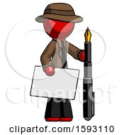 Red Detective Man Holding Large Envelope And Calligraphy Pen
