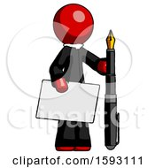 Red Clergy Man Holding Large Envelope And Calligraphy Pen