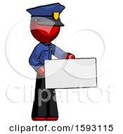 Red Police Man Presenting Large Envelope