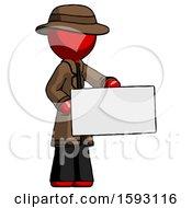 Red Detective Man Presenting Large Envelope