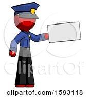Red Police Man Holding Large Envelope
