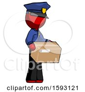 Red Police Man Holding Package To Send Or Recieve In Mail