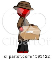 Red Detective Man Holding Package To Send Or Recieve In Mail